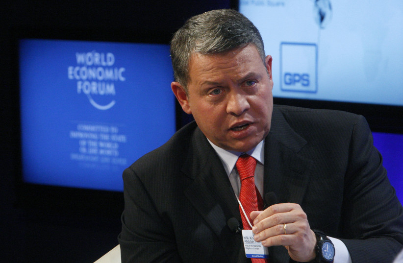 Jordan's King Abdullah speaks during a session at the World Economic Forum in Davos, Switzerland (photo credit: REUTERS/ARND WIEGMANN)