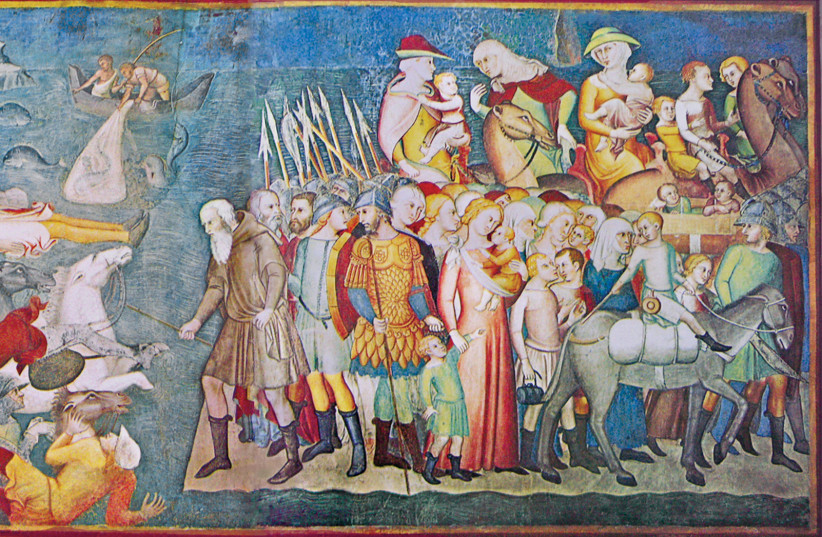 A WORK from 1356 by Bartolo di Fredi depicts the Israelites safely on the shore of the Red Sea, whil (photo credit: Wikimedia Commons)