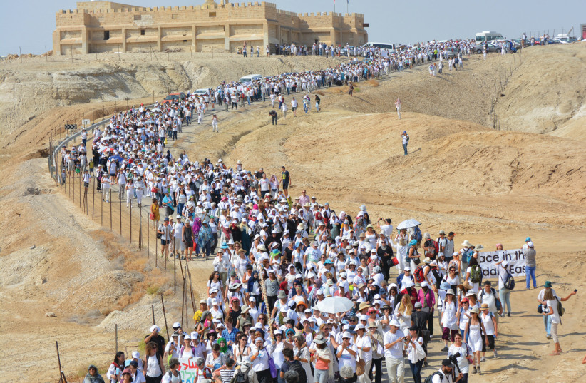 Israeli Jewish, Muslim and Palestinian women participate in the March of Hope, in October 2016 at the Qasr al- Yahud baptism site in the Jordan Valley (photo credit: PR)