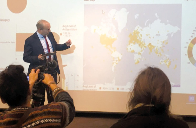 DIASPORA AFFAIRS MINISTER Naftali Bennett explains how the Antisemitism Cyber Monitoring System detects antisemitic online content, January 25, 2018 (photo credit: DIASPORA AFFAIRS MINISTRY)