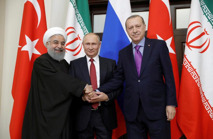 Iran's President Hassan Rouhani, Russia's Vladimir Putin and Turkey's Tayyip Erdogan meet in Sochi, Russia. (photo credit: REUTERS)