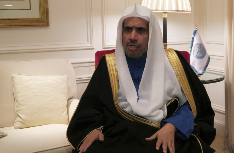 Mohammed al-Issa, former justice minister, head of the Muslim World League (MWL) speaks during an interview with Reuters at a hotel in Paris, France, November 23, 2017. (photo credit: REUTERS)
