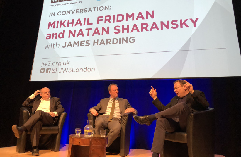 Michael Fridman, co-founder of the Genesis Philanthropy Group, discussing the future of Israel-diaspora ties with Natan Sharansky at JW3 Jewish Cultural Centre in London (photo credit: Courtesy)