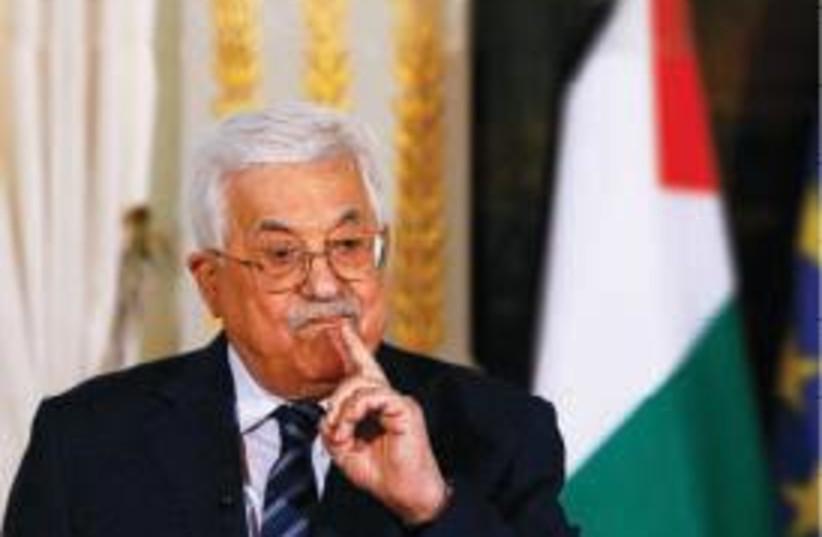 Mahmoud Abbas, President of the Palestinian Authority (photo credit: FRANÇOIS MORI/POOL/REUTERS)