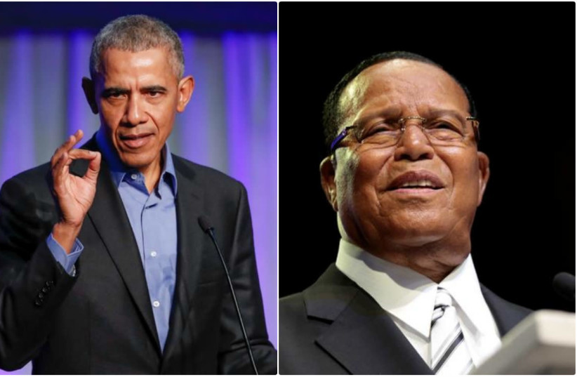 Former US president Barack Obama (left) and Louis Farrakhan (right) (photo credit: REUTERS/KAMIL KRZACZYNSKI (LEFT) REBECCA COOK (RIGHT))