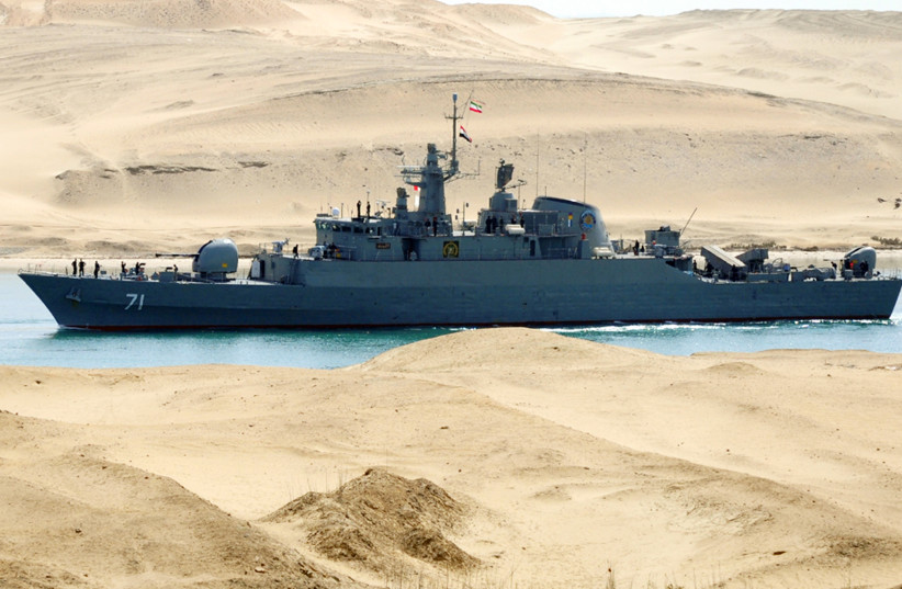 An Iranian naval ship travels through the Suez Canal near Ismailia, some 120 km (75 miles) north of Cairo February 22, 2011. (photo credit: REUTERS)