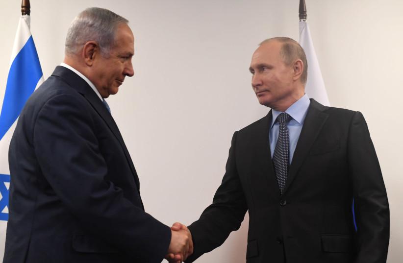 Israeli Prime Minister Benjamin Netanyahu meets Russian President Vladimir Putin in Moscow (photo credit: KOBI GIDEON/GPO)