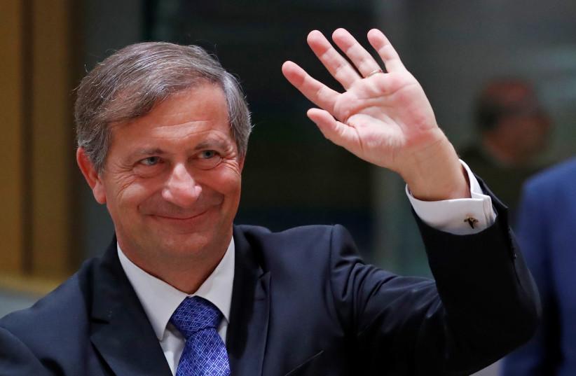 Slovenia's Foreign Minister Karl Erjavec. (photo credit: YVES HERMAN / REUTERS)