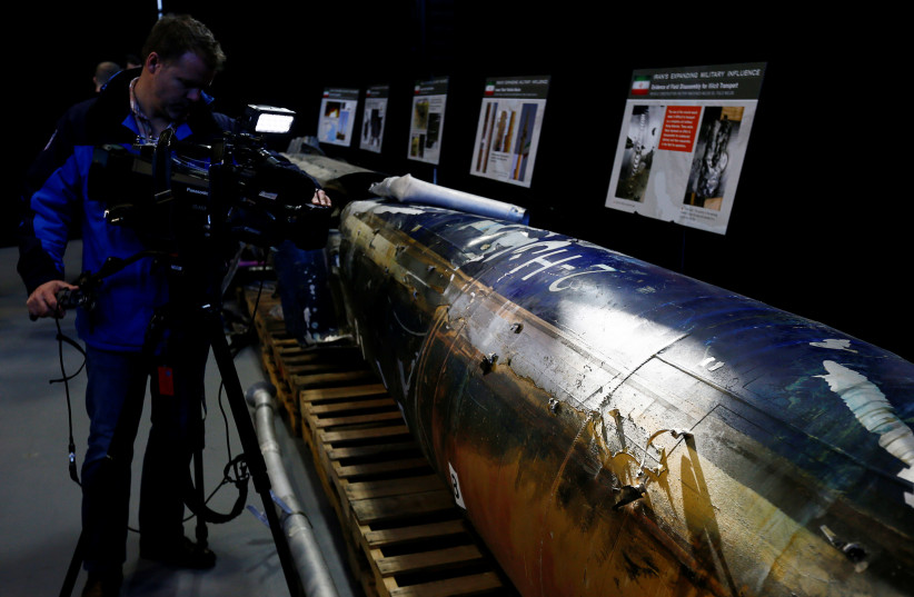 "A missile that the U.S. Department of Defense says is a ""Qiam"" ballistic missile manufactured in Iran and that the Pentagon says was fired by Houthi rebels from Yemen into Saudi Arabia on July 22, 2017 is seen on display at a U.S. military base in Washington, U.S. (photo credit: JIM BOURG/ REUTERS)"