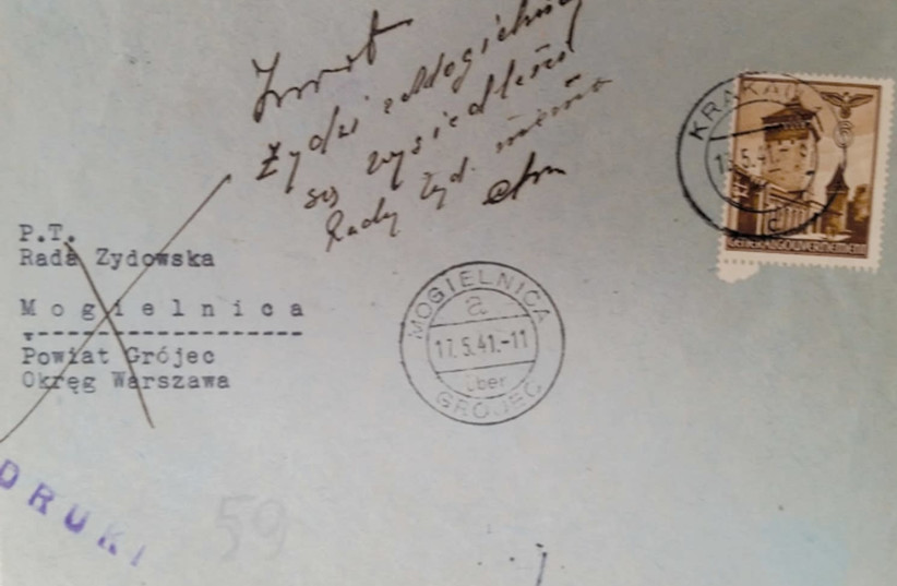 A LETTER, with a handwritten message on the envelope, was returned to Michal Weichert in wartime Poland. (photo credit: MICHAL WEICHERT ARCHIVE/NATIONAL LIBRARY OF ISRAEL)