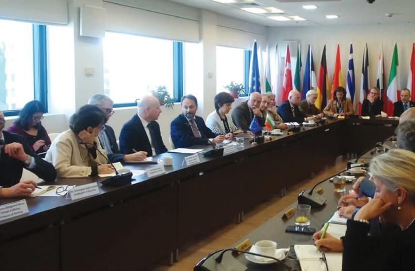 US MIDEAST envoy Jason Greenblatt meets with European Union ambassadors in Ramat Gan on January 30, 2018. (photo credit: TWITTER/JASON GREENBLATT)