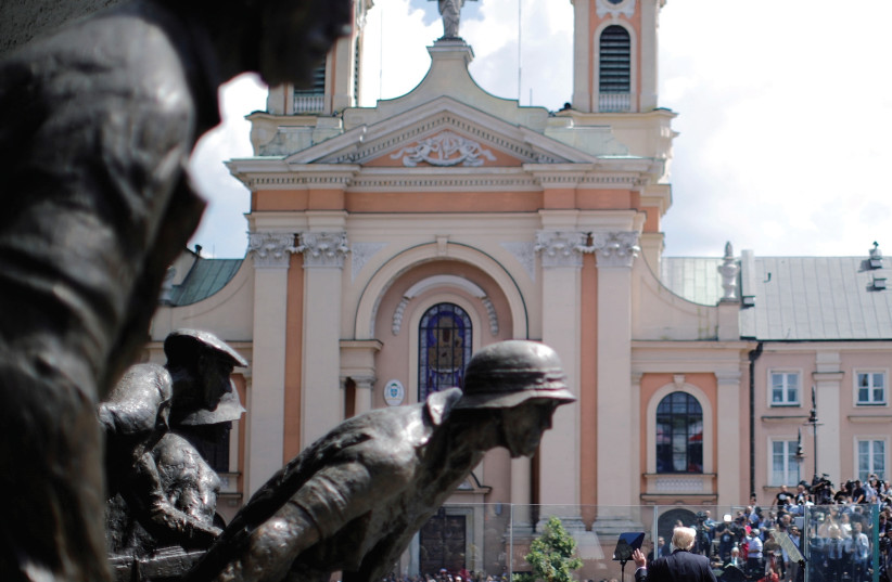 THE WARSAW Uprising Monument at Krasinski Square, in Warsaw, Poland. (photo credit: REUTERS)