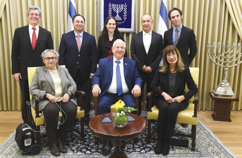 President Reuven Rivlin and his wife, Nechama (seated at left), host a reception yesterday for winners of the Blavatnik Awards for Young Scientists at the President's Residence (photo credit: Courtesy)