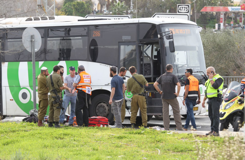 The scene after a stabbing attack outside the West Bank settlement of Ariel on February 5, 2018. (photo credit: HILLEL MEIR/TPS)