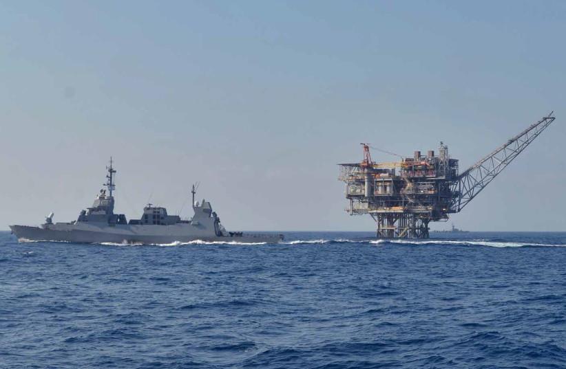 Israeli's Navy patrols the sea near a natural gas rig (photo credit: IDF SPOKESPERSON'S UNIT)