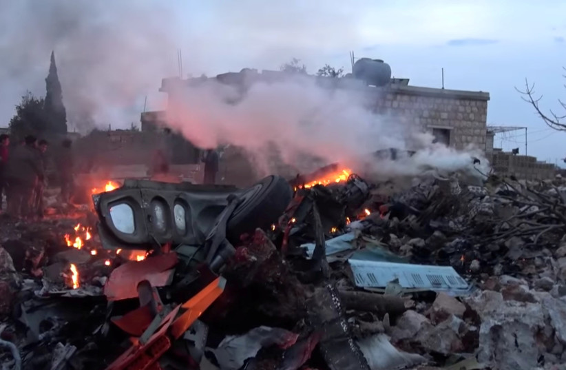 The aftermath of a Russian warplane shot down by Syrian rebels in Idlib, Syria (photo credit: REUTERS)