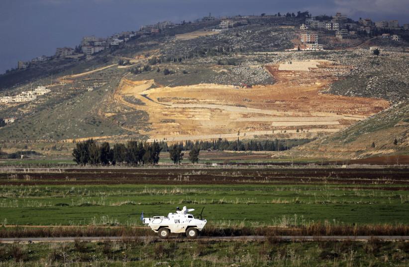 peacekeepers patrol along the Israel-Lebanon border near the northern Israeli town of Metula (photo credit: AMMAR AWAD / REUTERS)