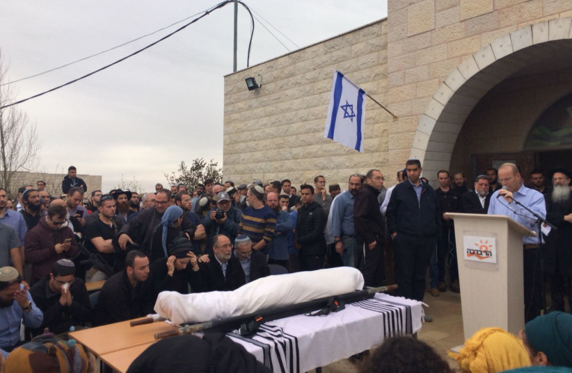 Funeral ceremony for Rabbi Itamar Ben-Gal in the West Bank settlement of Har Bracha on February 6, 2018. (photo credit: TOVAH LAZAROFF)