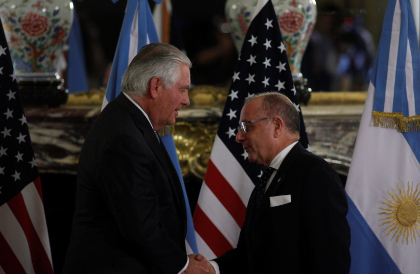US Secretary of State Rex Tillerson and Argentinian Foreign Minister Jorge Faurie hold a news conference in Buenos Aires, Argentina (photo credit: MARTIN ACOSTA / REUTERS)