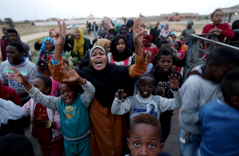Libyan displaced from the town of Tawergha protest in their camp in Benghazi, Libya (photo credit: REUTERS/ESAM AL-FETORI)