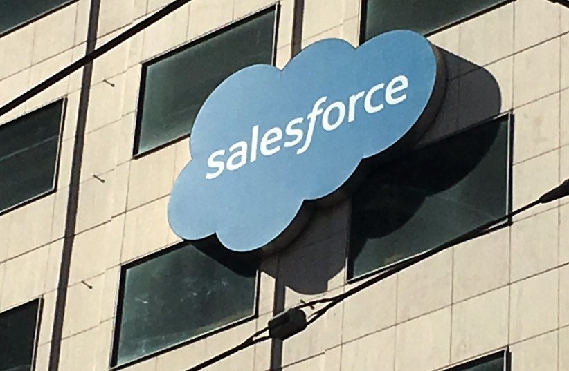 The Salesforce logo is pictured on a building in San Francisco, California, U.S. October 12, 2016.  (photo credit: REUTERS)