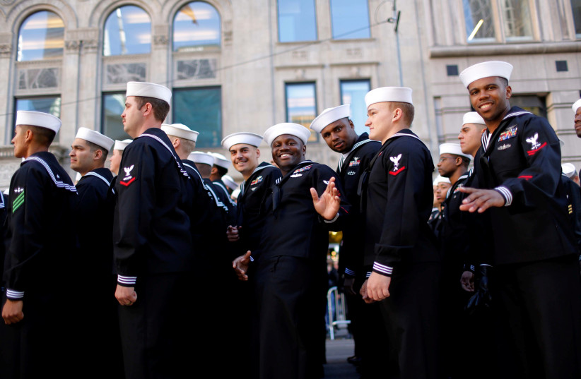 U.S. Navy members march during the Veteran's Day parade in New York, U.S., November 11, 2016. (photo credit: REUTERS)