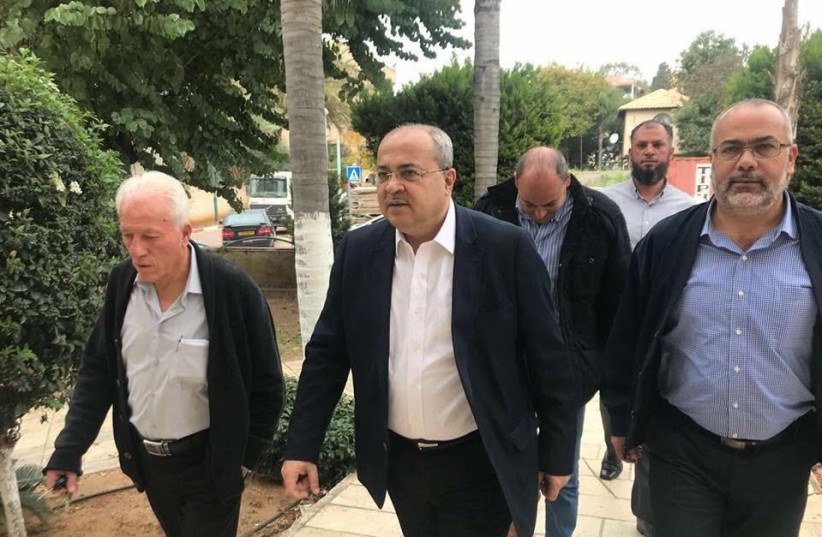 MK Ahmed Tibi (Joint List) visits the High School for the Sciences in Jaljulya on February 8, 2018 in the wake of a school shooting the day before (photo credit: AHMED TIBI'S OFFICE)