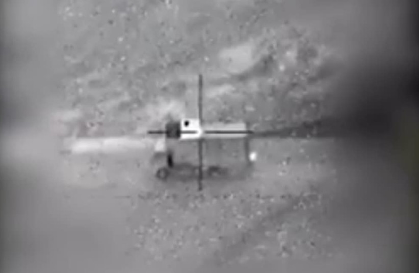 An Israeli jet destroys an Iranian drone operating unit in Syrian territory (photo credit: IDF SCREENSHOT)