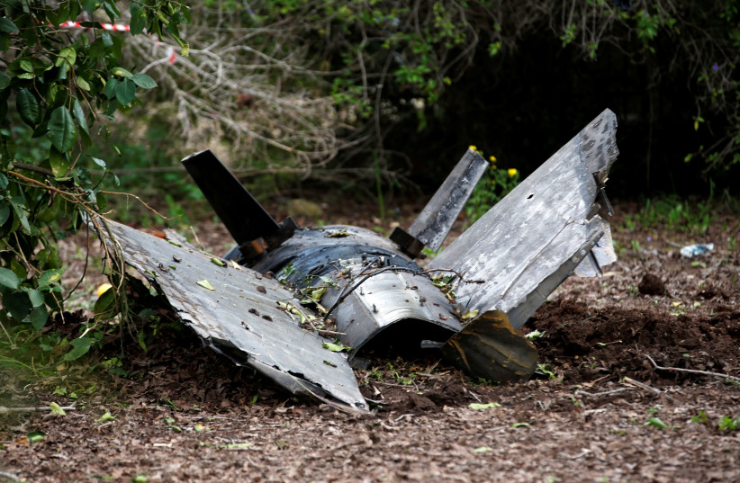 Fragments of a Syrian anti-aircraft missile found in Alonei Abba, about 2 miles (3.2 km) from where the remains of a crashed F-16 Israeli war plane were found, at the village of Alonei Abba, Israel February 10, 2018. (photo credit: RONEN ZVULUN / REUTERS)