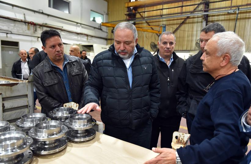 Defense Minister Avigdor Liberman visits Kiryat Shmona, February 13th, 2018. (photo credit: DEFENSE MINISTRY/ARIEL HERMONI)