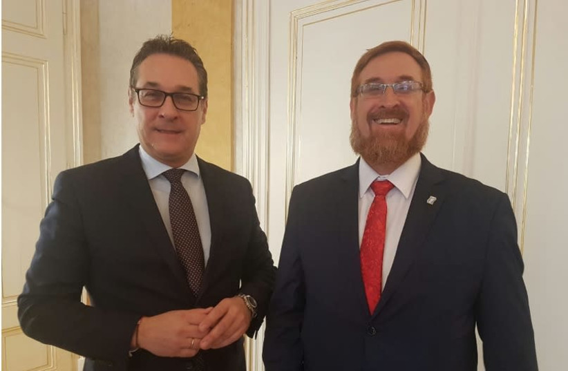 New Austrian Vice Chancellor Heinz-Christian Strache and MK Yehudah Glick (Likud) (photo credit: URI BANK)