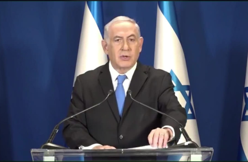 Prime Minister Benjamin Netanyahu speaks to the nation  (photo credit: screenshot)