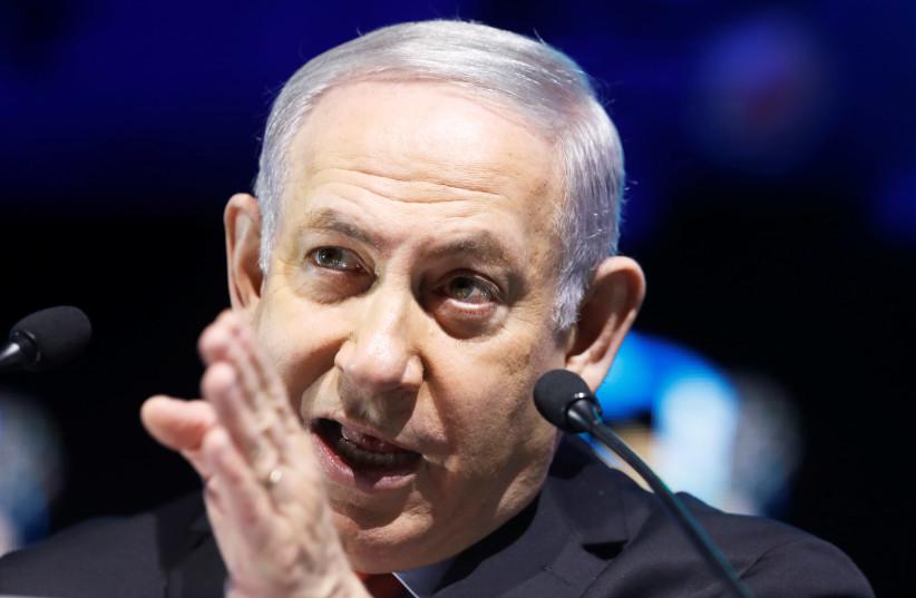 Israeli Prime Minister Benjamin Netanyahu speaks in Tel Aviv, Israel February 14, 2018 (photo credit: NIR ELIAS / REUTERS)