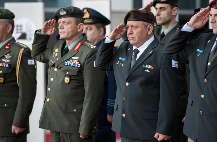 Head of the Cyprus National Guard Lt.-Gen.Elias Leontaris and IDF Chief of Staff Lt.Gen. Gadi Eisenkot (photo credit: IDF SPOKESPERSON'S UNIT)