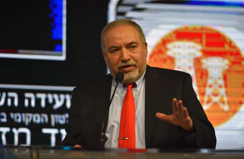 Defense Minister Avigdor Liberman speaks in Tel Aviv (photo credit: ARIEL HERMONI / DEFENSE MINISTRY)