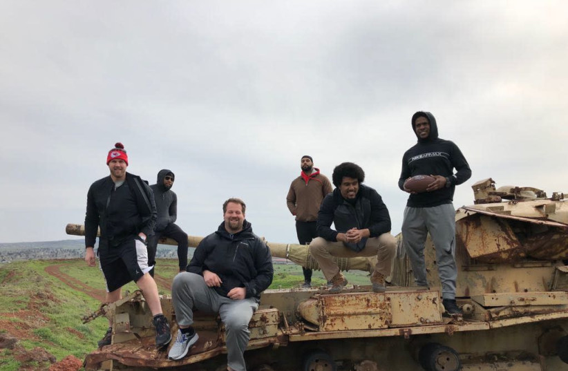 NFL players in Israel week after Super Bowl (photo credit: AMERICAN VOICES FOR ISRAEL)