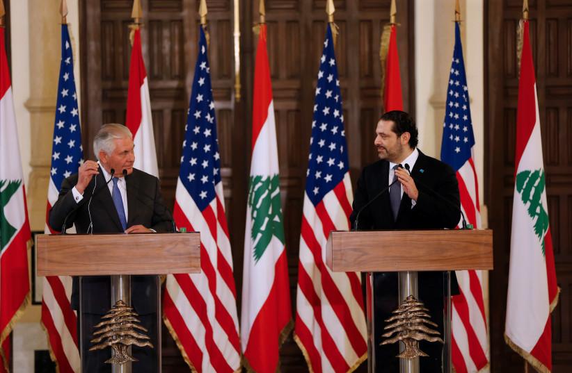 US Secretary of State Rex Tillerson and Lebanese Prime Minister Saad Hariri in Beirut, February 2018 (photo credit: MOHAMED AZAKIR / REUTERS)
