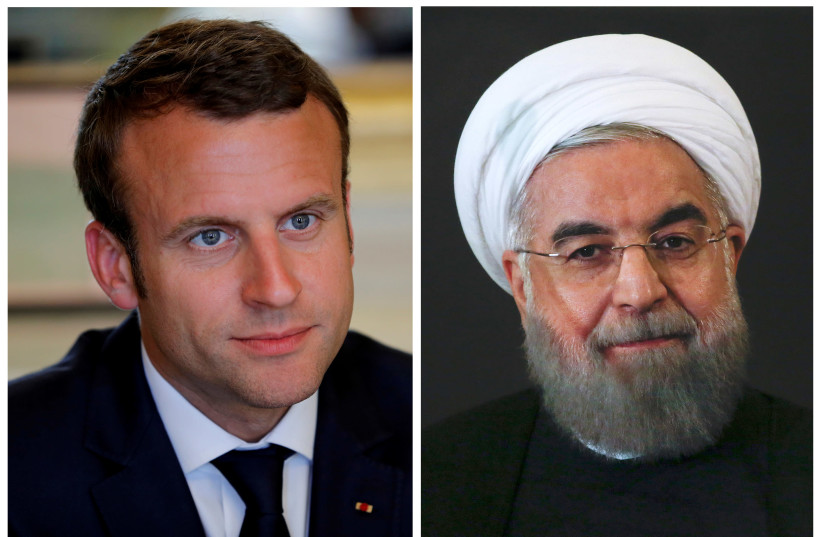 A combination of file photos showing French President Emmanuel Macron  and Iranian President Hassan Rouhani (photo credit: REUTERS/PHILIPPE WOJAZER/ALESSANDRO BIANCHI)