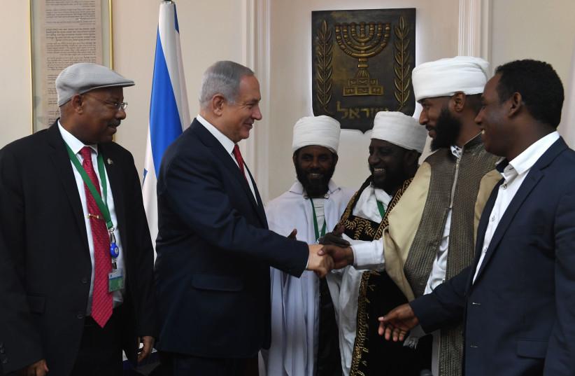 Prime Minister Benjamin Netanyahu meeting Ethiopian community leaders (photo credit: KOBI GIDEON/GPO)