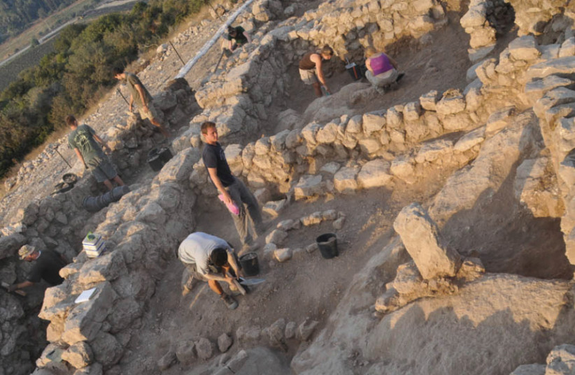 The Khirbet Qeiyafa shrine, 'Standing Stones' (photo credit: HEBREW UNIVERSITY OF JERUSALEM)