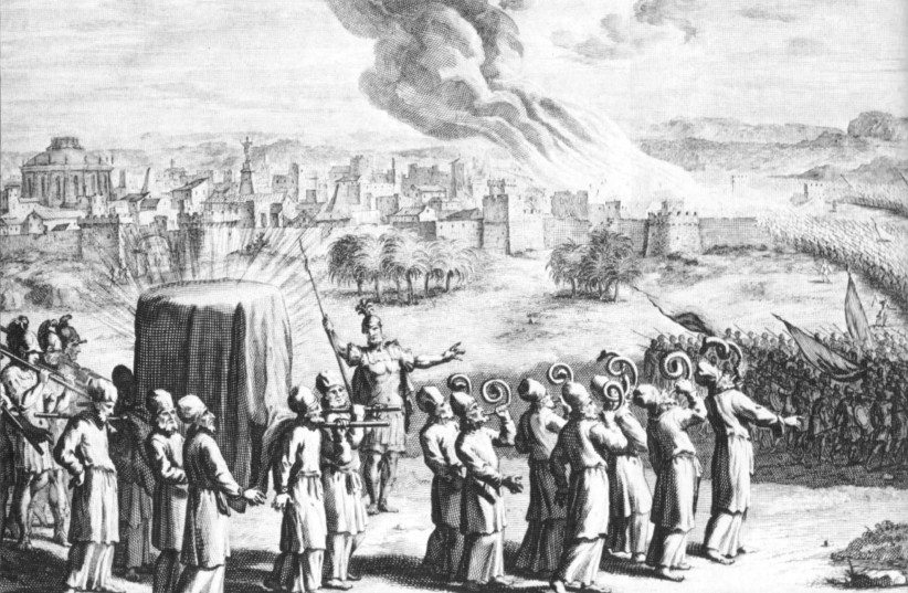 The covered ark and seven priests with rams' horns, at the Battle of Jericho, in an eighteenth-century artist's depiction (photo credit: Wikimedia Commons)