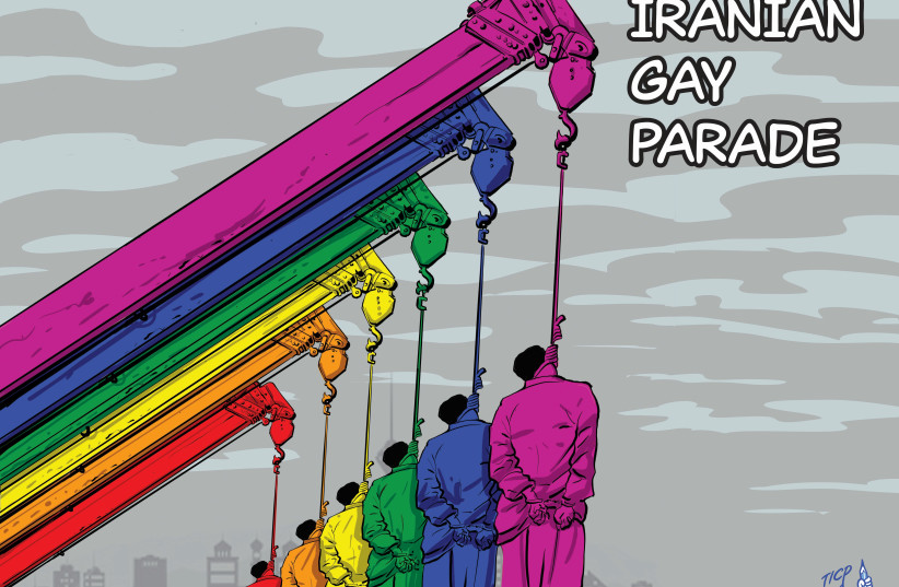 A cartoon from the upcoming Israeli Cartoon Project exhibition in Brussels, mocking Iran's human rights record (photo credit: COURTESY OF THE ISRAELI CARTOON PROJECT)