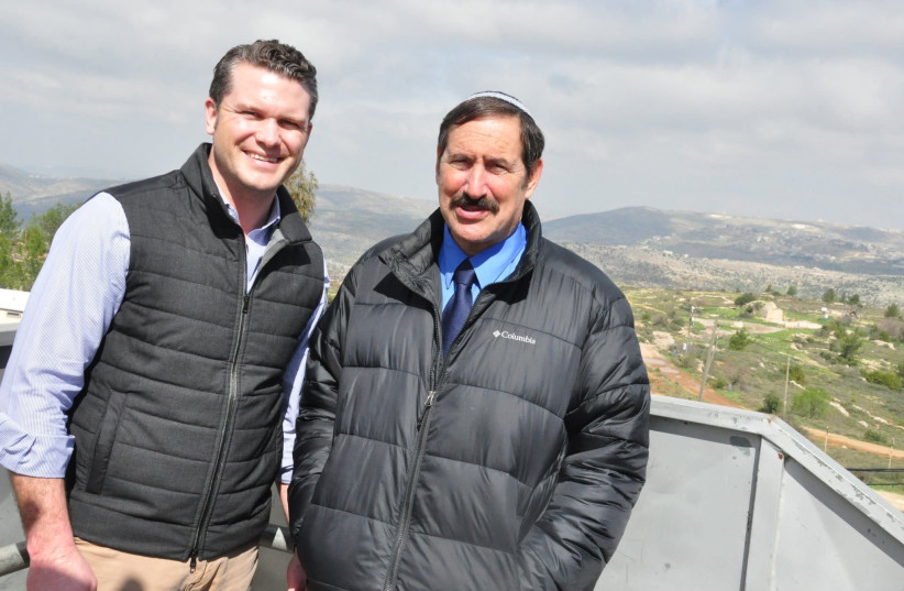 Fox host Pete Hegseth and National Council of Young Israel Vice President Joe Frager in the settlement of Beit El (photo credit: COURTESY OF NYCI)