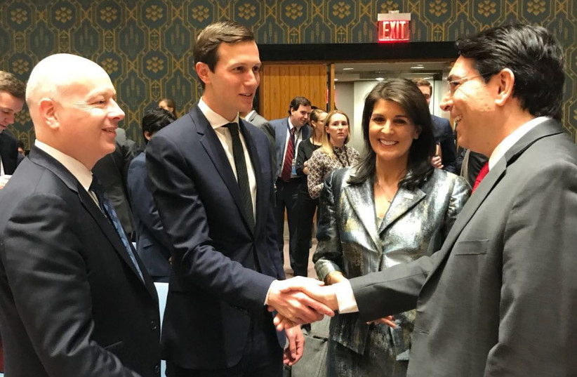 Ambassador Danny Danon with US envoys Jared Kushner and Jason Greenblatt and US Ambassador Nikki Haley (photo credit: ISRAEL MISSION TO THE UN)
