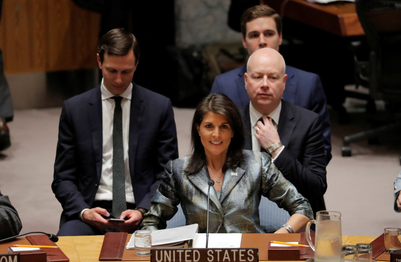 Nikki Haley at a meeting of the UN Security Council (photo credit: LUCAS JACKSON / REUTERS)