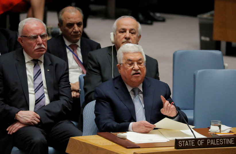 Palestinian Authority President Mahmoud Abbas speaks at the United Nations, February 2018 (photo credit: LUCAS JACKSON / REUTERS)