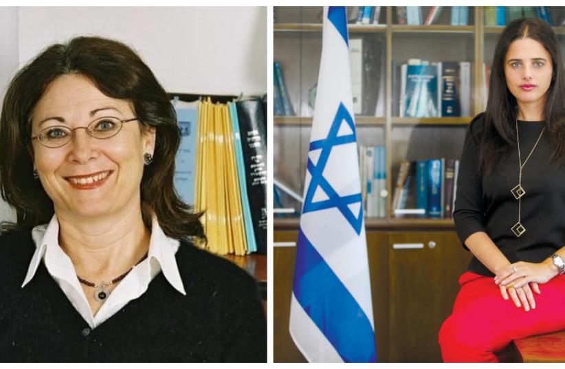 Ayelet Shaked and Esther Hayut (Marc Israel Sellem, Reuters) (photo credit: REUTERS + MARC ISRAEL SELLEM)