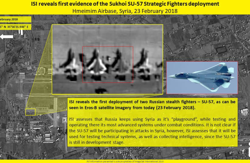 Satellite images showing the Russian stealth planes in Syria (photo credit: IMAGESAT INTERNATIONAL (ISI))
