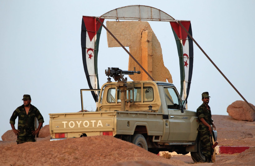 Polisario Front fighters at a checkpoint in Morocco (photo credit: REUTERS)