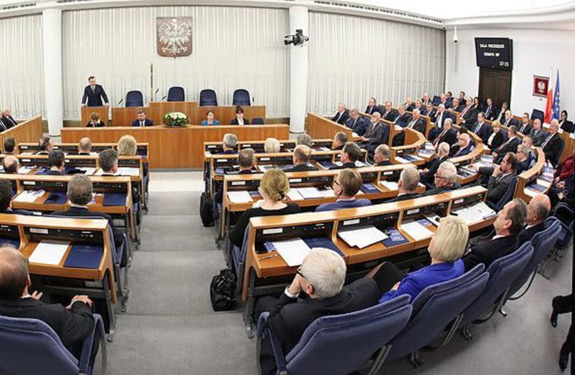 1st sitting the Polish Senate of the 9th term. (photo credit: KATARZYNA CZERWIŃSKA/WIKIMEDIA COMMONS)